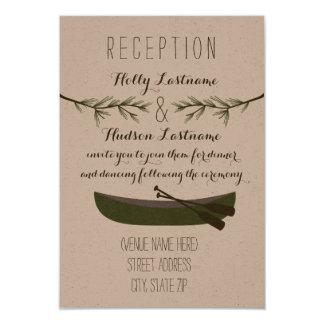 Canoe + Evergreen Branches Wedding Reception Card