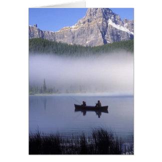 Canoe fishing Waterfowl Lake, Banff National Card