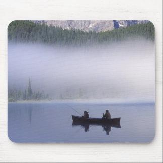 Canoe fishing Waterfowl Lake, Banff National Mouse Pad