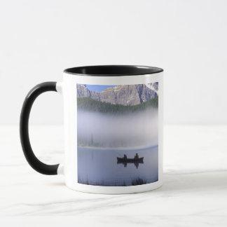 Canoe fishing Waterfowl Lake, Banff National Mug