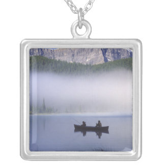 Canoe fishing Waterfowl Lake, Banff National Silver Plated Necklace