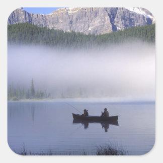 Canoe fishing Waterfowl Lake, Banff National Square Sticker