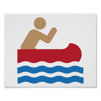 Canoe icon pictograph in color poster