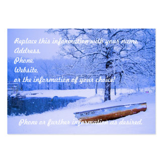 Canoe in Snow Large Business Cards (Pack Of 100)