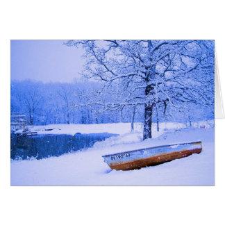Canoe in Snow Card