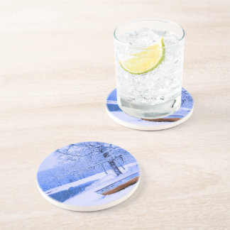 Canoe in Snow Drink Coaster