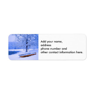 Canoe in Snow Label