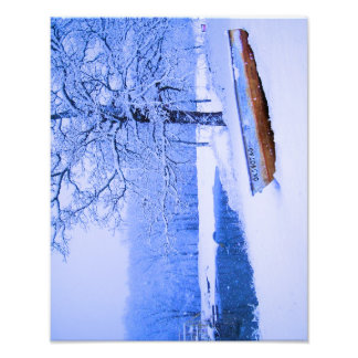 Canoe in Snow Photo Print