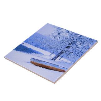 Canoe in Snow Tile