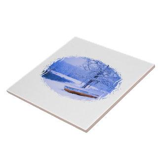 Canoe in Snow Ceramic Tile