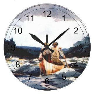 Canoe in the Rapids Large Clock