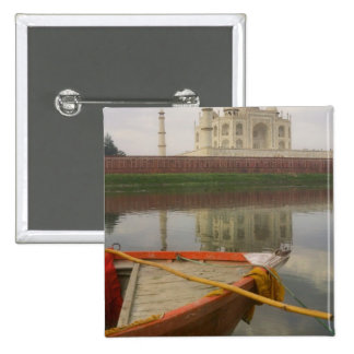Canoe in water with Taj Mahal, Agra, India 2 Inch Square Button