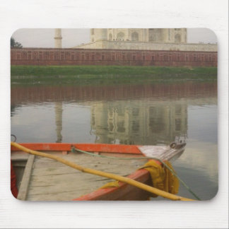 Canoe in water with Taj Mahal Agra India Mouse Pads
