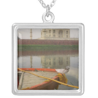 Canoe in water with Taj Mahal, Agra, India Square Pendant Necklace
