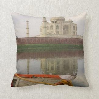 Canoe in water with Taj Mahal, Agra, India Throw Pillow