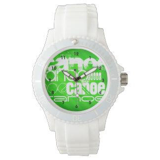 Canoe; Neon Green Stripes Wrist Watch