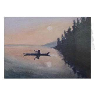 Canoe on a Peaceful Lake Card