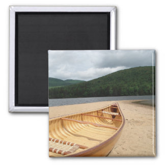 Canoe on Beach by Lake 2 Inch Square Magnet