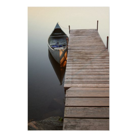 canoe on crystal clear lake poster