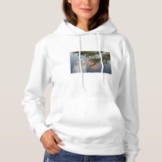 Canoe on lake at sunset, Canada Hoodie