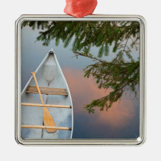 Canoe on lake at sunset, Canada Metal Ornament