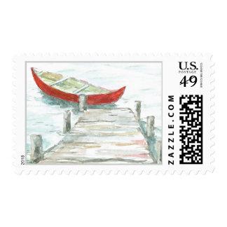 Canoe on Lake Postage