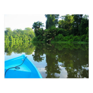 Canoe on river in Tortuguero, Costa Rica Postcard
