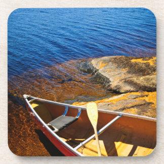 Canoe on shore coasters