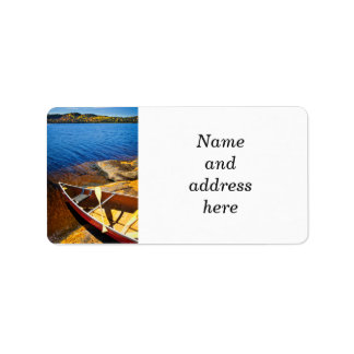Canoe on shore label