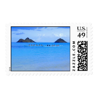 Canoe Paddlers Postage Stamps