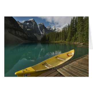 Canoe parked at a dock along Moraine Lake, Banff Cards