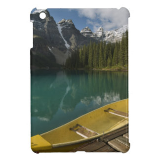 Canoe parked at a dock along Moraine Lake, Banff iPad Mini Cases
