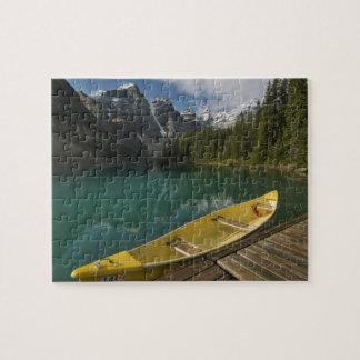 Canoe parked at a dock along Moraine Lake, Banff Jigsaw Puzzle