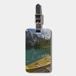 Canoe parked at a dock along Moraine Lake, Banff Luggage Tag