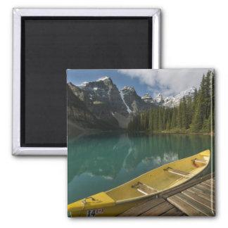 Canoe parked at a dock along Moraine Lake, Banff Magnet