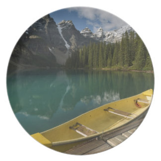 Canoe parked at a dock along Moraine Lake, Banff Plate