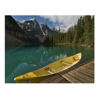 Canoe parked at a dock along Moraine Lake, Banff Postcard