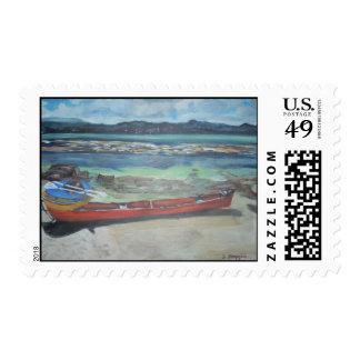 Canoe & Raft on Shell Island Stamps