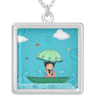 canoe ride square pendant necklace