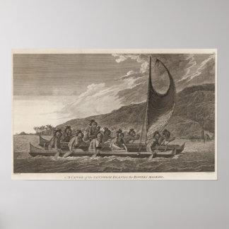 Canoe, Sandwich Islands Poster