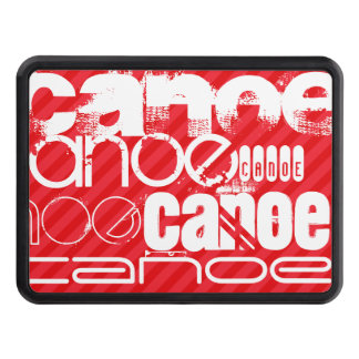 Canoe; Scarlet Red Stripes Tow Hitch Cover