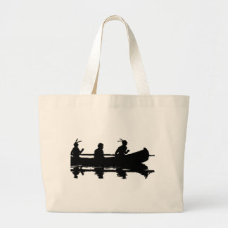 Canoe Silhouette Large Tote Bag