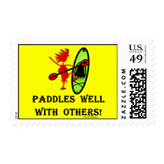 Canoe Slalom - Paddles Well With Others Postage Stamp