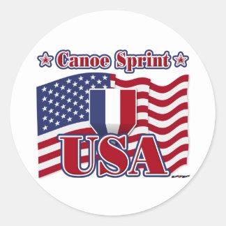 Canoe Sprint USA Classic Round Sticker