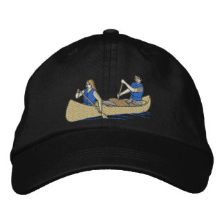 Canoe with people embroidered baseball hat