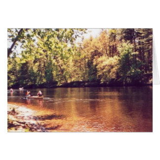 """Canoeing along the Contoocook River"" Card"