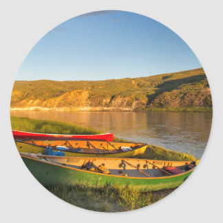 Canoeing Along The White Cliffs Of Missouri Classic Round Sticker