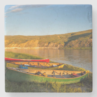 Canoeing Along The White Cliffs Of Missouri Stone Beverage Coaster