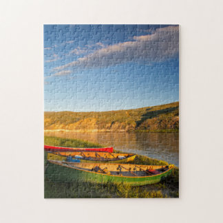 Canoeing Along The White Cliffs Of Missouri Jigsaw Puzzle