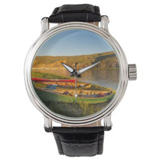 Canoeing Along The White Cliffs Of Missouri Wrist Watch